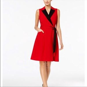 CK Red Contrast Lapel Sleeveless Wrap Dress